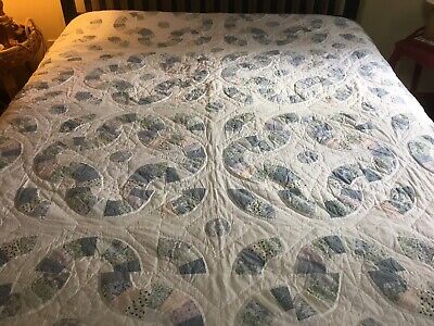 Antique Patchwork Quilt In Pastel Blues, Green And Pink Calicos