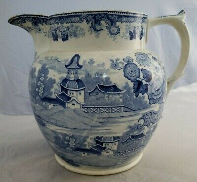 Antique Staffordshire Blue White Pearlware Pitcher Transfer Printed Minton 1830+