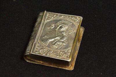 Silver Plated Ornate High Relief Bible Trinket Box Silver Plate *39