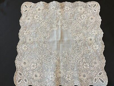 Stunning Gray Madeira Embroidered Floral Handkerchief Hanky Fully Covered