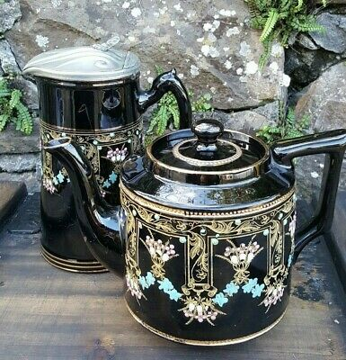 Antique Stamped S.J.B. Black Victorian hand painted Teapot and pitcher