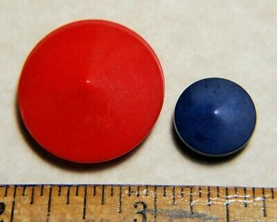 Vintag Colt Fire Arms Buttons #36 Cone Shape ~ large red and smaller blue