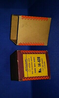 VINTAGE 1950's WILLIAMS TOOLS BOX For No. 14-628 POWER DRIVE SOCKETS/Collectable