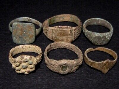 LOT of 6 pcs. ANCIENT ROMAN, BYZANTINE AND MEDIEVAL FINGER RINGS+++BROAD VARIETY