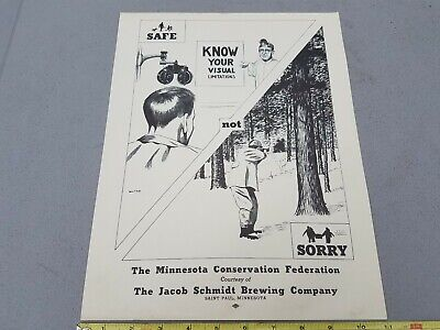 1950's Schmidt Beer Brewing Co. Mn Conservation Hunters Safety Poster Sign Lot4