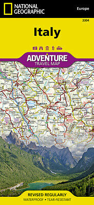 National Geographic Country of Italy Europe Adventure Travel Road Map 3304