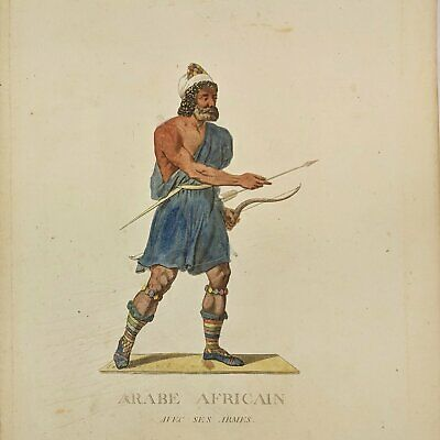Arab with weapons - Hand coloured print