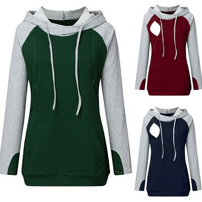 Women Pregnant Nusring Maternity Long Sleeve Blouse Splicing Top Pullover Hooded