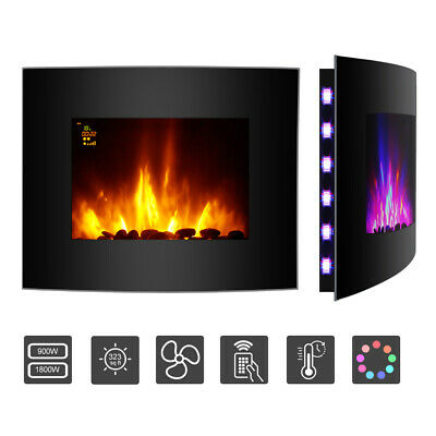 Electric Fire Heater Fireplace Heater with Remote Control LED Backlit Stove 2Kw