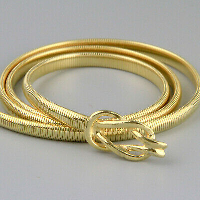 Vintage 80s Gold Knot Metal Skinny Snake Belt  Stretch 82 - 101cm L - XL Disco