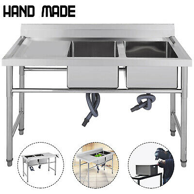 Kitchen Sink 2 Bowl with Left Hand Drainer Handmade Stainless Steel Catering