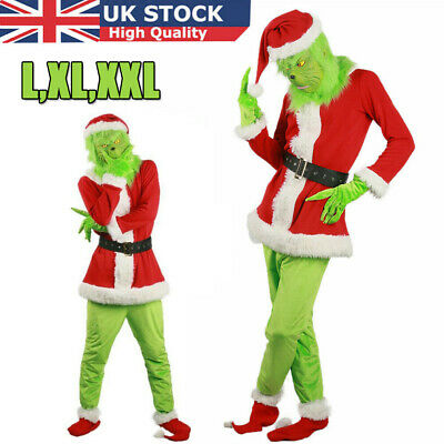 UK The Grinch Mask Adult Costume Cosplay How the Grinch Stole Christmas Outfits