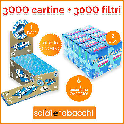 3000 CARTINE SMOKING BLU CORTA + 3000 Filtri RIZLA 6MM + ACCENDINO OMAGGIO