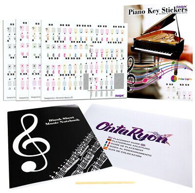 Piano Stickers Keyboard Music Note Chart Removable Decal 49, 61, 76, 88 Keys