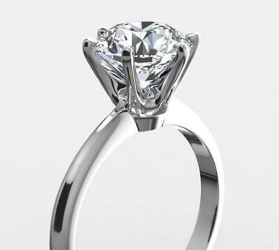 2.00 Carat Real Natural Diamond Engagement Ring Round Cut D Si1 14K White Gold
