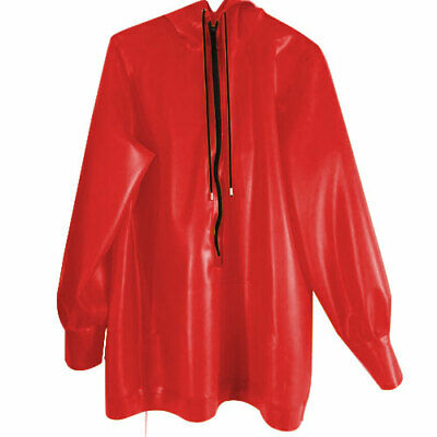 Unisex Latex Rubber Tops Rot Zipper Hooded Jacket Sports Fashion Cool Gummi Coat