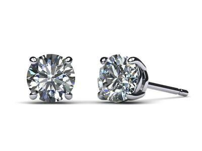 2 CT D VS2 Real 100% Natural Diamond  Round Cut Stud Earrings 14k White Gold