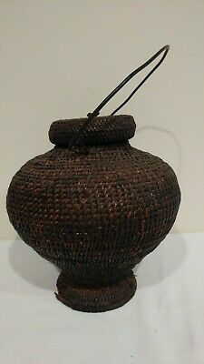 Antique Asian Chinese Indonesian Lidded Basket Vessel with Metal Handle
