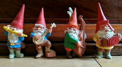 Vintage David The Gnome Figures. Band. BRB. Kabouter. Huygen. PVC. Orchestra.