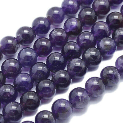 "49pcs/strd Natural Amethyst Bead Round Grade AB 8.5mm 16"" Jewelry Gemstone Loose"