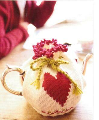 Hand Knitted Heart Tea cosy