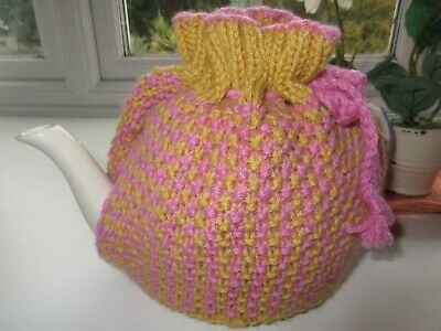 Hand Knitted Tweed Stitch Tea cosy