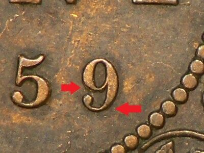 🍁 1859 Canada Large Cent Repunched 9 #9770