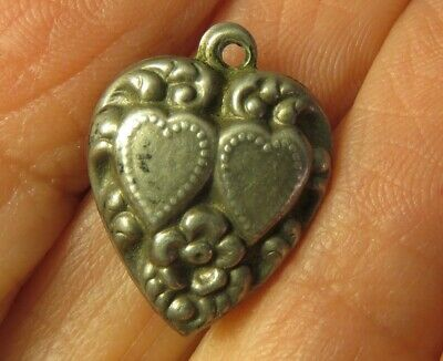 Htf Antique Sterling Silver Puffy Heart Charm