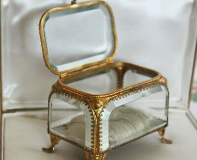 Victorian Vintage Ormolu filligree Bevel Glass Footed Casket Jewelry Trinket Box