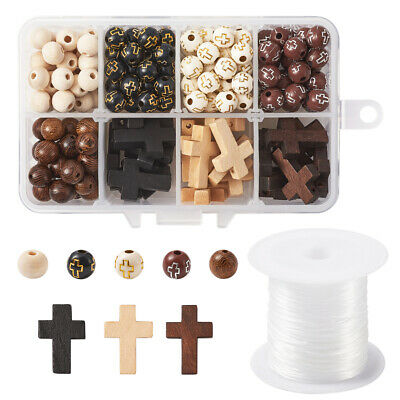 Mixed Wood Bead N Plating Acrylic Bead Round Cross 11x7x3cm Jewelry Loose Spacer