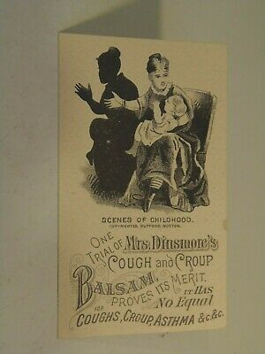 Mrs. Dinsmore Cough and Croup Balsam Silouette Victorian Trade Card 10/13