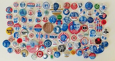 100 George McGovern 1972 Presidential Campaign Pinback Buttons - All Different!