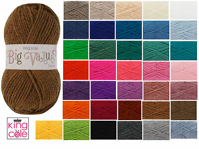 King Cole Big Value Chunky Acrylic Wool 100g Knitting Yarn - All Colours