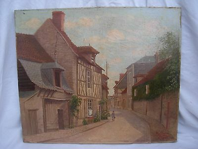 Antique  French Oil Painting On Canvas,Signed.