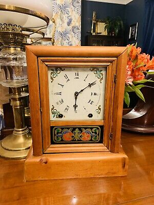 Original Pine Cased Mantle Clock By New Haven Of New York Circa 1870-80