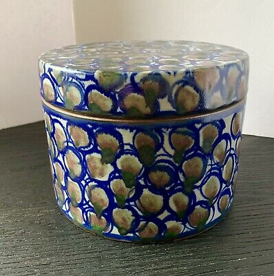 Robert Sperry Studio Pottery Stoneware LG Covered Container Ochre Blue Seattle
