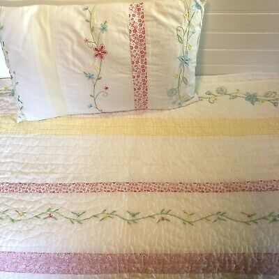 The Little White Company London UK Baby Quilt & Pillow Pink Embroidered Flowers