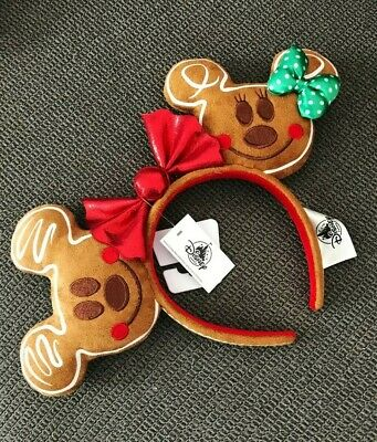 Disney Parks 2019 Holiday Mickey Minnie Gingerbread Cookie Ears Headband