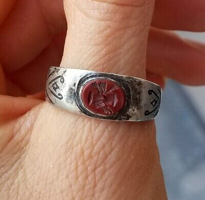 Roman Silver Engagement Ring with cameo of clasped hands red gemstone and niello