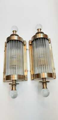 Pair Antique Vintage Old Art Deco Brass & Glass Rod Ship Light Wall Sconces Lamp