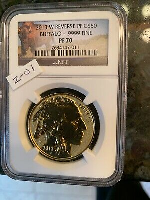 "Blow out--""REVERSE PROOF"" 2013 W $50 Buff. NGC PF70 -Bison Label"