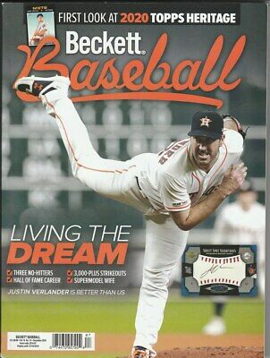 December 2019 Beckett Baseball Price Guide Magazine Vol 19 No12 Justin Verlander