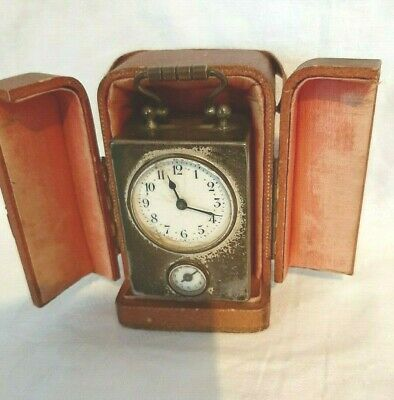 Antique Carriage clock with Leather travel case