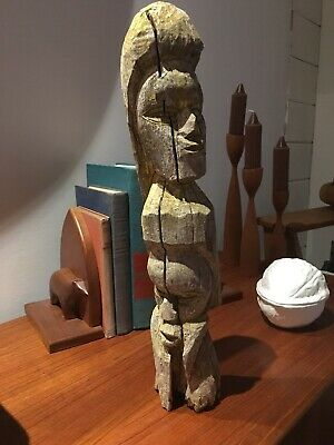 "Primitive Folk Art Wood Totem Two Faces Hand Carved Aged Weathered 15"" Tall Rare"