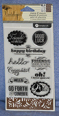 Hampton Art Clear Acrylic Stamp /& Stencil Set Greetings Vintologie SC0641 NEW