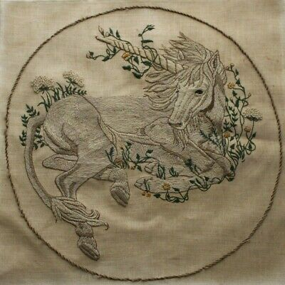 """Unicorn Serenity"" Linda Powell Dimensions Crewel Embroidery Completed Finished"