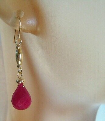 Solid 14KT Yellow Gold Natural, Faceted Ruby Earrings 2.1 Grams, 8.40 ctw