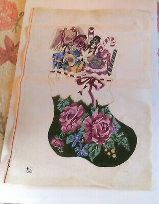 Handpainted Needlepoint Green Victorian Floral Christmas Stocking Canvas TS 691