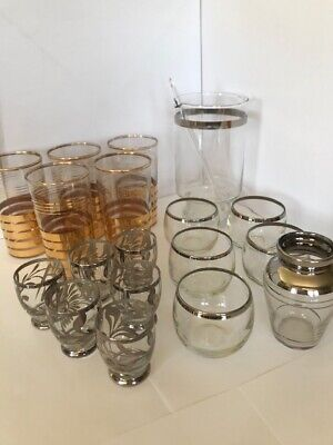 Mid Century Vintage Gold and Silver-accented Barware