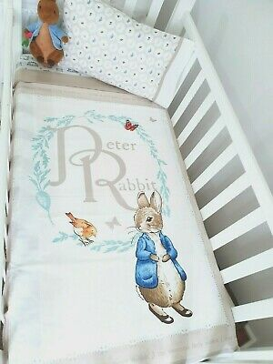"New Unisex ""Peter Rabbit "" Cot / toddler bed quilt + toddler pillowcase set"